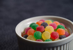 Gumdrops in a white ramekin close-up Royalty Free Stock Photography