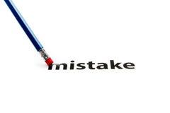 Gumka i błędu pojęcie Obrazy Stock