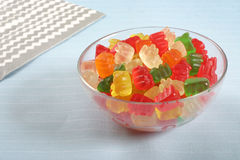 Gummi Bear Bowl. Gummi bears in a bowl Stock Photos