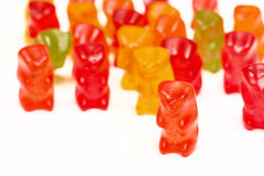 Gummi bears. Gummi bear with another bears in background Royalty Free Stock Photos