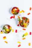 Gummi bears in bowls Stock Photos