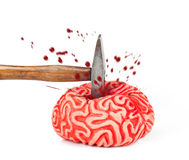 Gummi des menschlichen Gehirns mit Hammerschlag und Blut wird verschüttet stockfoto