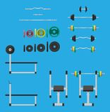 Gummi- och metallvikter, hantel och bänk vektor illustrationer