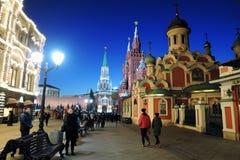 GUMMI und Moskau der Kreml nachts Farbfoto Lizenzfreie Stockfotos