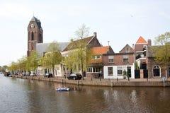 Gummiboot im Fluss IJssel bei Oudewater Stockbild
