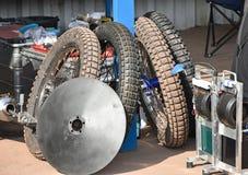 Gummihjul av speedwaycyklar Arkivbild
