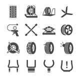 Gummihjul-, däck- och hjulsymbolsuppsättning Royaltyfri Foto
