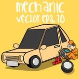 Gummihjul för ändring för bilmekaniker Arkivfoton