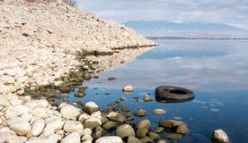 Gummihjul i vatten Arkivfoton