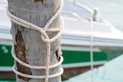 Gummihjul och repet som binds till en kokosnöt som förtöjer masten, sänder Royaltyfri Foto