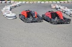 Gummihjul på autodromen Fotografering för Bildbyråer