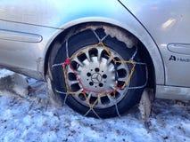 gummihjul på snö Fotografering för Bildbyråer