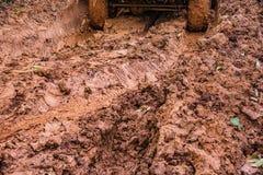 Gummihjulspår på en lerig väg Arkivfoto