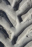 Gummihjulspår på siestatangent Arkivfoton