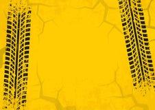 Gummihjulspårbakgrund med sprucken och grungeeffekt Svart på gul bakgrund vektor vektor illustrationer