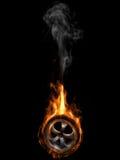 Gummireifen auf Feuer Stockfotografie