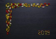 Gummy ευχετήρια κάρτα 2019 καραμελών στοκ φωτογραφίες με δικαίωμα ελεύθερης χρήσης