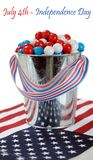 Gummy ball candy in a Fourth of July decoration stock photo