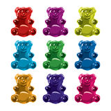 Gummy bear candies. vector. Gummy bear candies isolated on white background. collection of colorful candy bears. vector Royalty Free Stock Photo