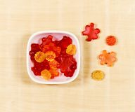 Gummy Bear Candy Colorful Background on wood.  Stock Photography