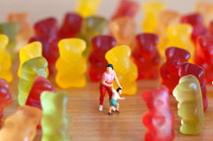 Gummy bear invasion. Harmful/ junk food concept Royalty Free Stock Photo