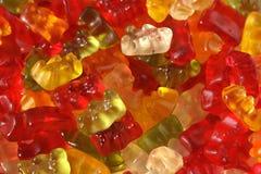 Gummy bears. Macro of multi-coloured gummy bears stock photography