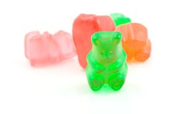 Gummy Bears. A macro shot of some gummy bears over a white background Royalty Free Stock Photo