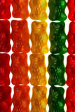 Gummy Bears. Several gummy bears aligned in columns according to color Royalty Free Stock Image