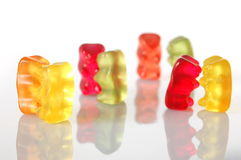 Gummy bears dancing at a party Royalty Free Stock Photo
