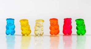Gummy bears. Fruit flavored gummy bears in assorted colors Stock Images