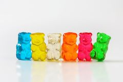 Gummy bears. Fruit flavored gummy bears in assorted colors Stock Photo