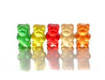 Gummy bears on white Stock Photo