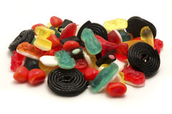 Gummy candies and liquorice Stock Images