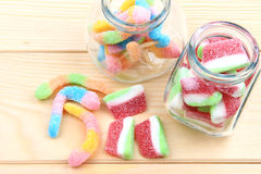 Gummy candy in jars Royalty Free Stock Photo