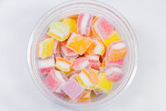 Gummy candy rainbow on white background Royalty Free Stock Images