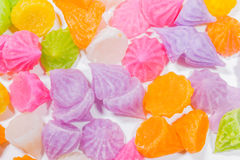Gummy candy rainbow on white background. Colorful Gummy candy rainbow on white background Royalty Free Stock Image