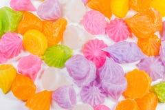 Gummy candy rainbow on white background. Colorful Gummy candy rainbow on white background Royalty Free Stock Photo