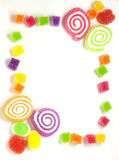 Gummy frame. The frame of colorful gummy on white background for decoration Royalty Free Stock Image