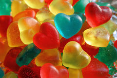 Gummy Hearts. Colorful heart-shaped gummy candy Stock Photos