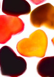 Gummy hearts. Nice gummy hearts close up on white background Royalty Free Stock Photos
