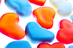Gummy hearts. Nice gummy hearts close up on white background Royalty Free Stock Image