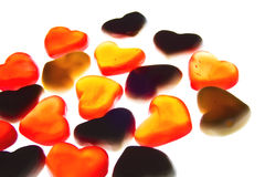 Gummy hearts. Nice gummy hearts close up on white background Royalty Free Stock Images