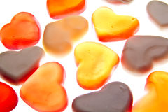 Gummy hearts. Nice gummy hearts close up on white background Royalty Free Stock Photography