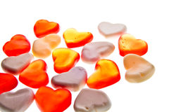 Gummy hearts. Nice gummy hearts close up on white background Stock Photos