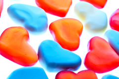 Gummy hearts. Nice gummy hearts close up on white background Stock Photo