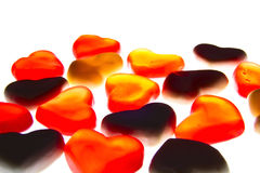 Gummy hearts. Nice gummy hearts close up on white background Stock Photography