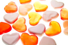 Gummy hearts. Nice gummy hearts close up on white background Stock Image