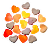 Gummy hearts. Nice gummy hearts close up on white background Stock Images