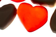 Gummy hearts. Nice gummy hearts close up on white background Royalty Free Stock Photo