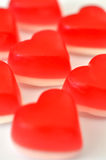 Gummy hearts  on white Royalty Free Stock Images